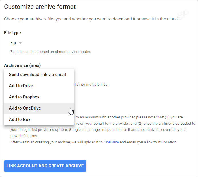 2 Deliver Google Plus Archive