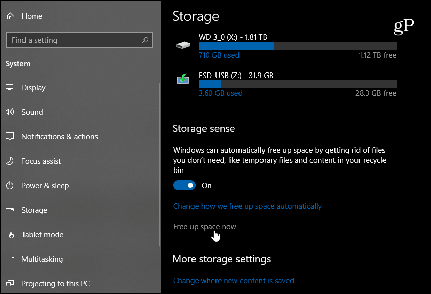 Storage Sense Windows 10 1809