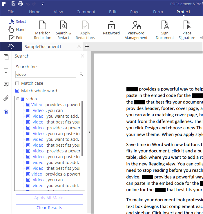 The Search & Redact feature in PDFelement 6