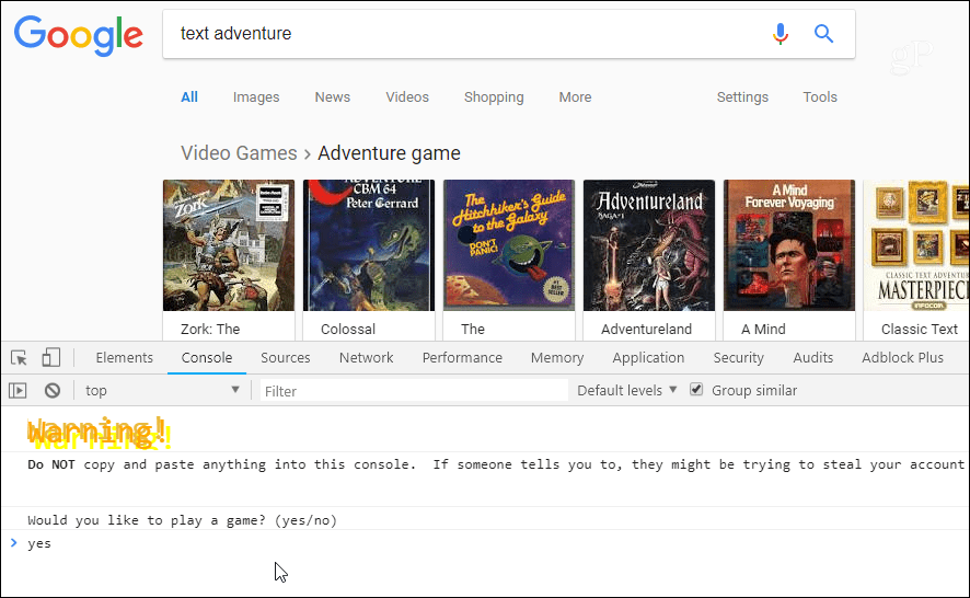 Google Text Adventure