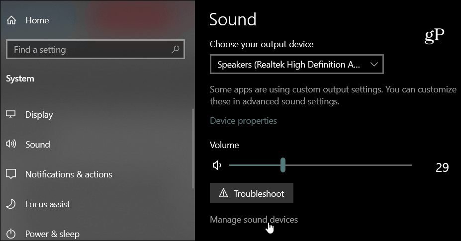 Sound Devices Windows 10