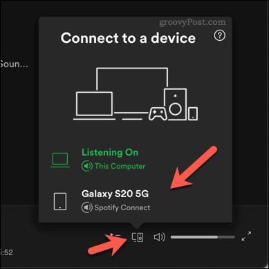 Choosing a playback device on Spotify