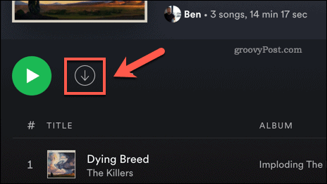 Downloading a song in the Spotify desktop app.