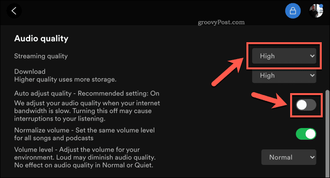 Changing streaming quality in the Spotify desktop app.