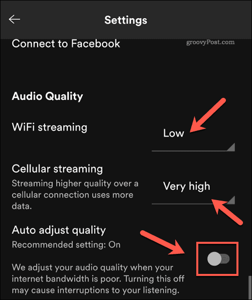 Setting Spotify audio quality settings on mobile.