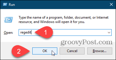 Open the Registry Editor using the Run dialog box in Windows