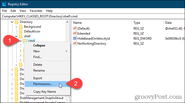 Right-click a registry key and select Permissions in the Windows Registry Editor