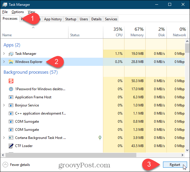Select the Windows Explorer process and click Restart in Windows 10