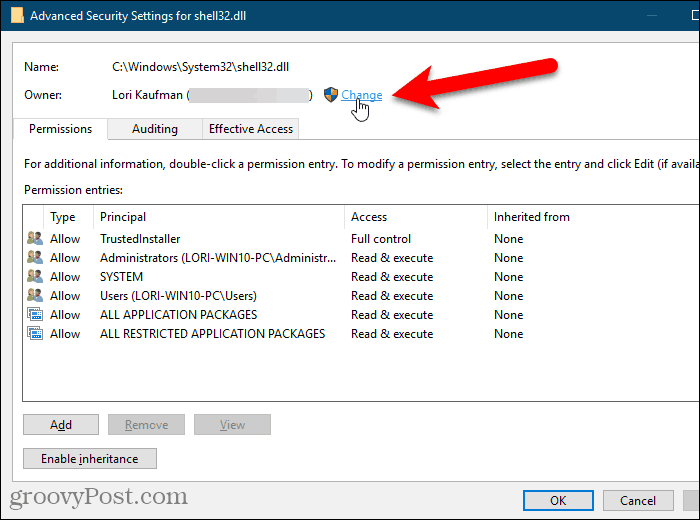 Click Change for the Owner on the Advanced Security Settings dialog box in the Windows Registry Editor