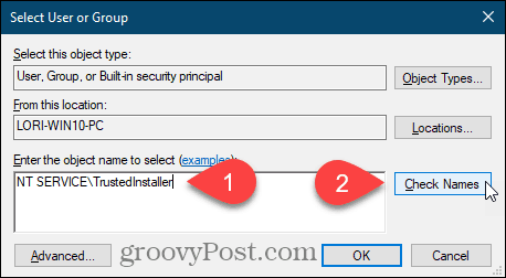 Enter user name and click Check Names for a Windows registry key