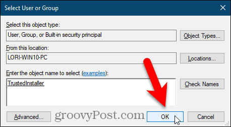 Close the Select User or Group dialog box in the Windows Registry Editor