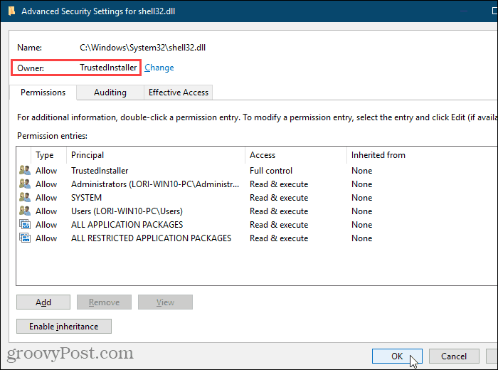 Close the Advanced Security Settings dialog box in the Windows Registry Editor