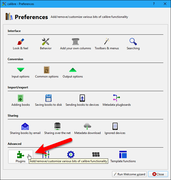 Click Plugins on the Preferences dialog box in Calibre