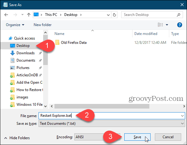Save a batch file to the desktop in Notepad in Windows 10