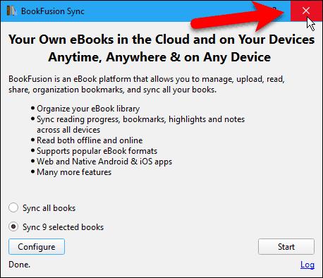 Close the BookFusion Sync dialog box in Calibre