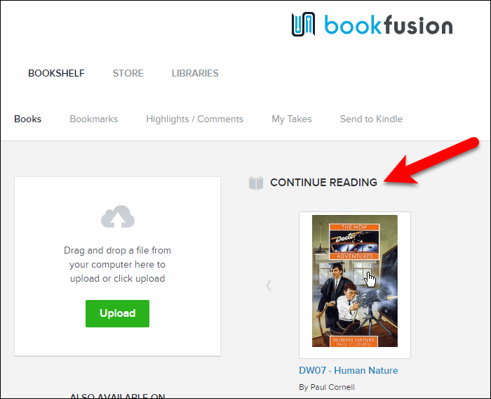 The Continue Reading section in your BookFusion library