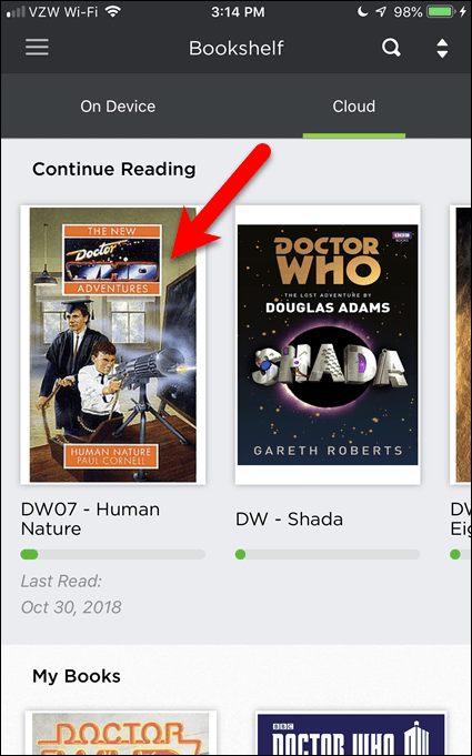 Tap a book to download it to BookFusion on your iOS device