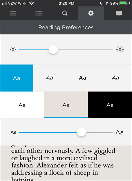 Reading Preferences in BookFusion for iOS