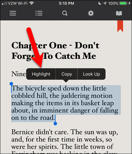 Select text and tap Highlight in BookFusion for iOS