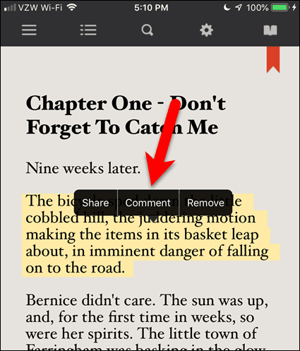 Tap Highlight and then tap Comment in BookFusion for iOS
