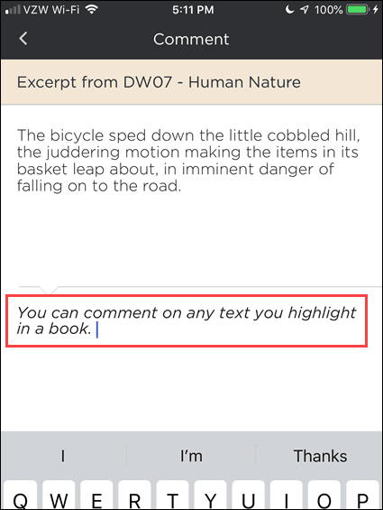 Enter a comment for a highlighted passage in BookFusion for iOS