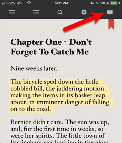 Tap the open book icon in an eBook in BookFusion for iOS