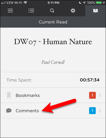 Tap Comments in BookFusion for iOS