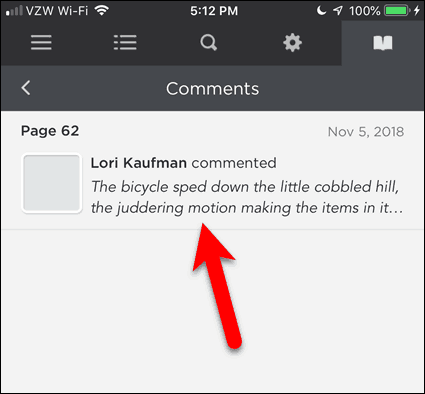 Tap a comment in BookFusion for iOS