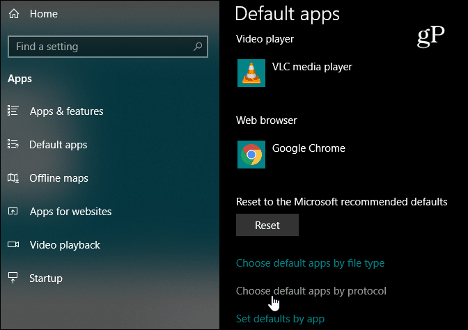 Chose default app protocol windows 10