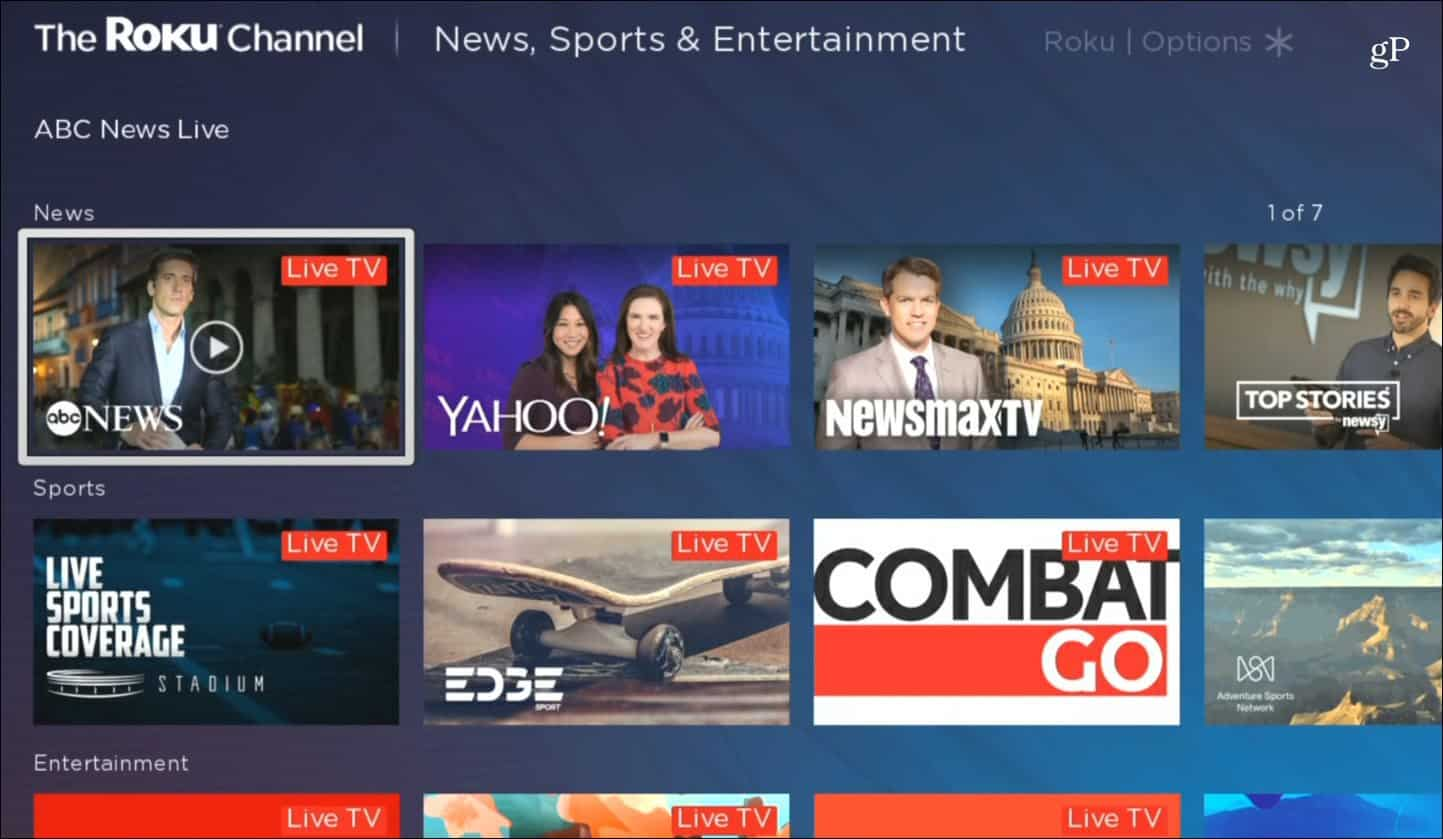 Roku Channel Live Content