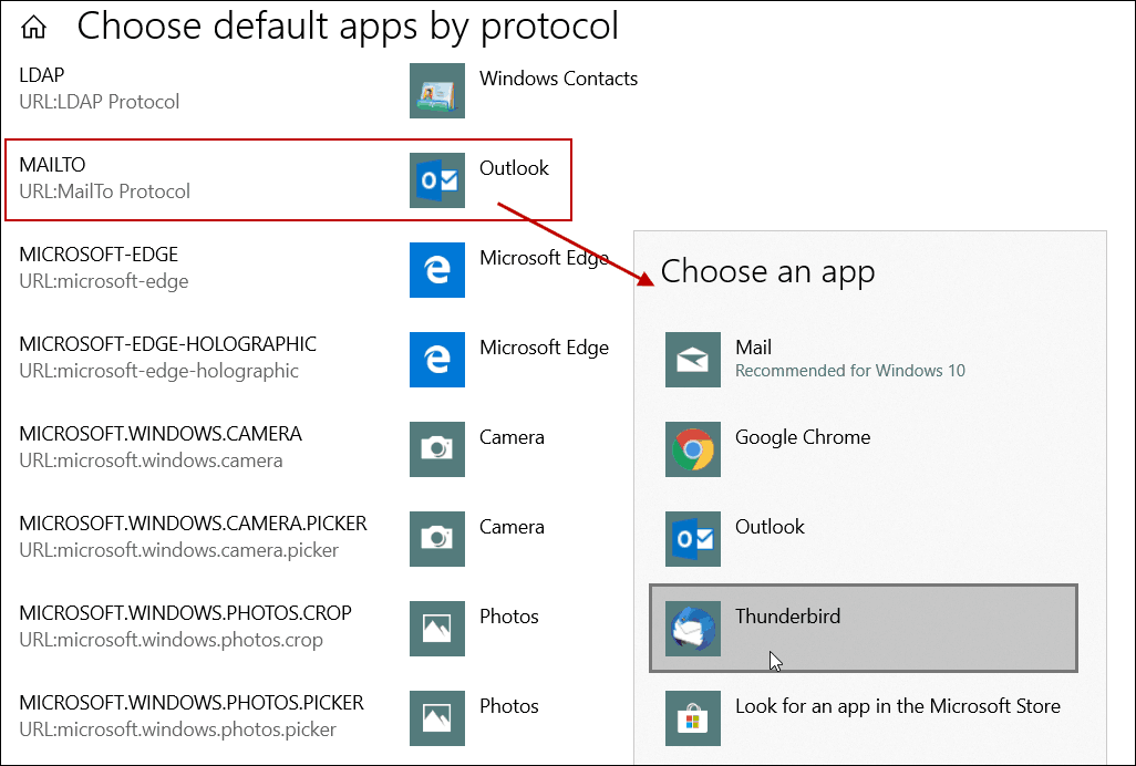 Set Default Email app by Protocol Windows 10