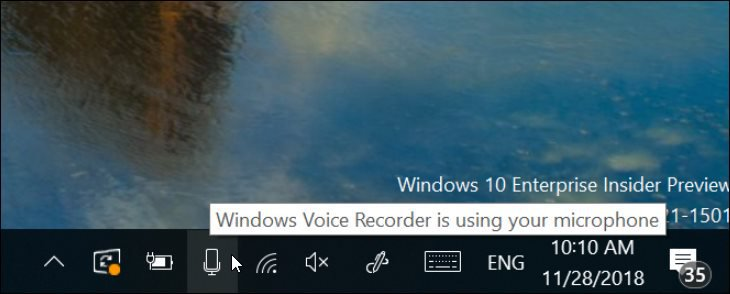 Windows 10 19H1 New Microphone Notification