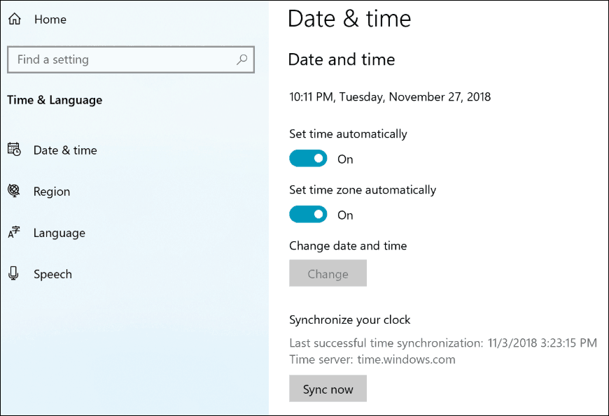 Windows 10 19H1 Sync Clock Settings