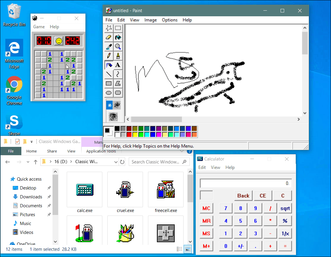 classic Windows apps and minesweeper