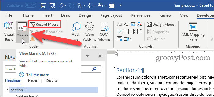 Click Macros on the Developer tab in Word