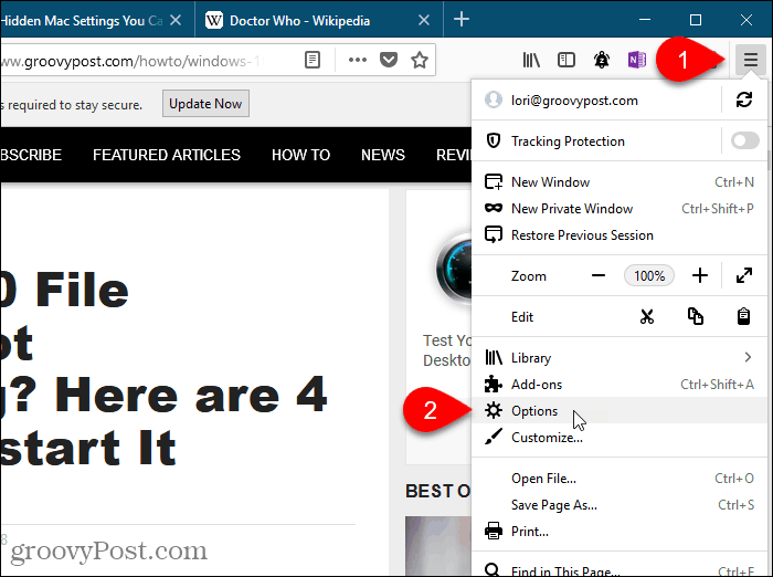 Select Options from the Firefox menu