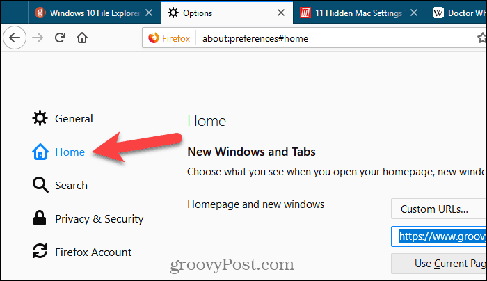 Click Home on Settings page in Firefox