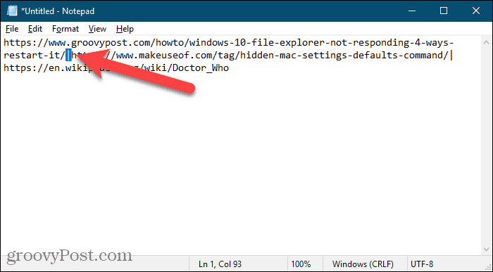 Replace vertical bars in URLs copied from Firefox