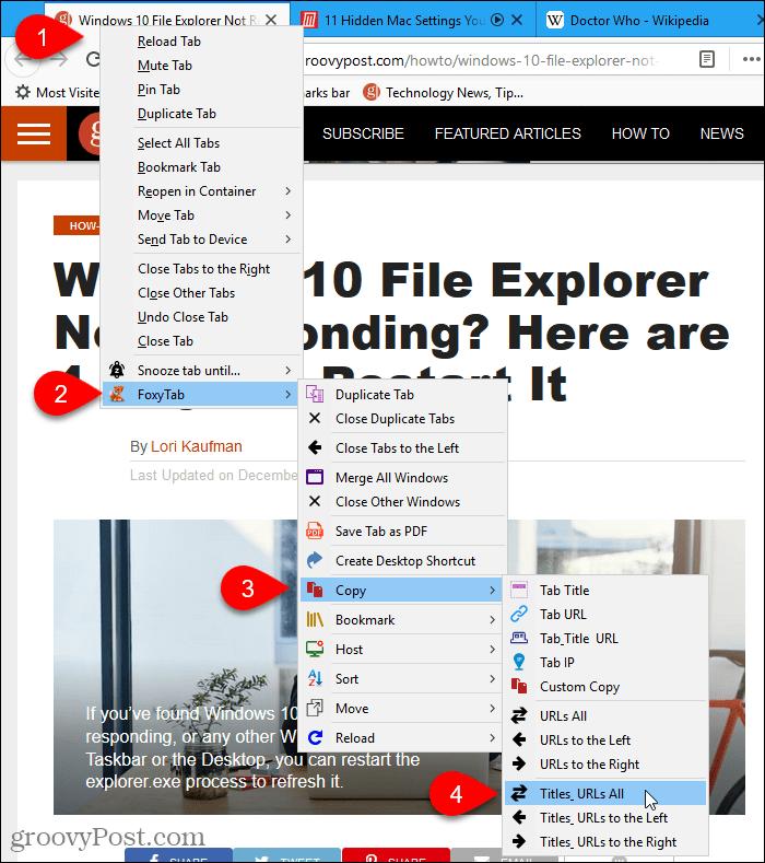 The FoxyTab add-on in Firefox