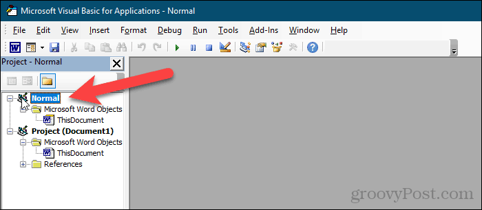 Select Normal project in VBA editor in Word