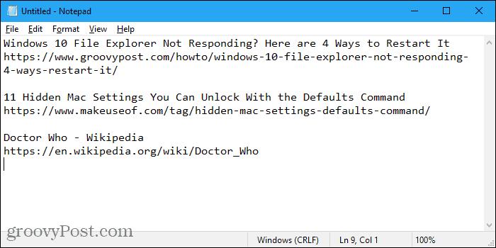 URLs copied from Firefox into Notepad using FoxyTabs