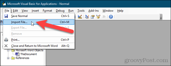 Go to File > Import File in VBA editor in Word