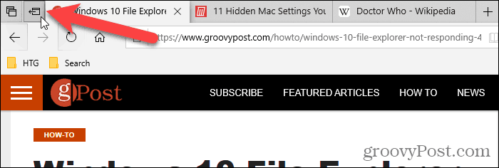Click Set these tabs aside in Edge