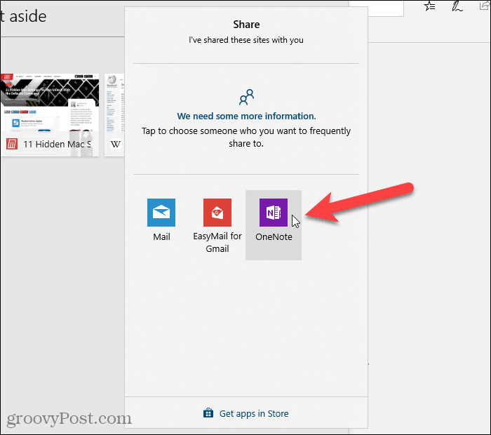 Click an app to share URLs in Edge