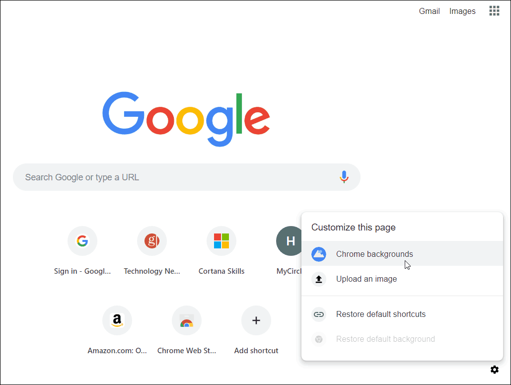 Chrome New Tab Page options