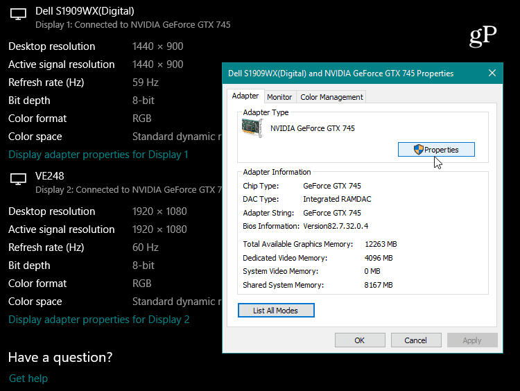 Graphics Card Properties Windows 10
