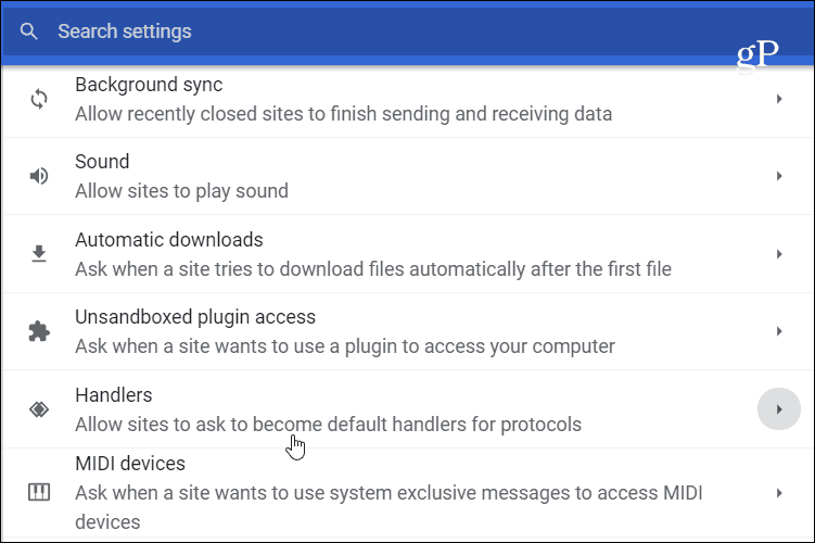 Chrome Handlers Settings