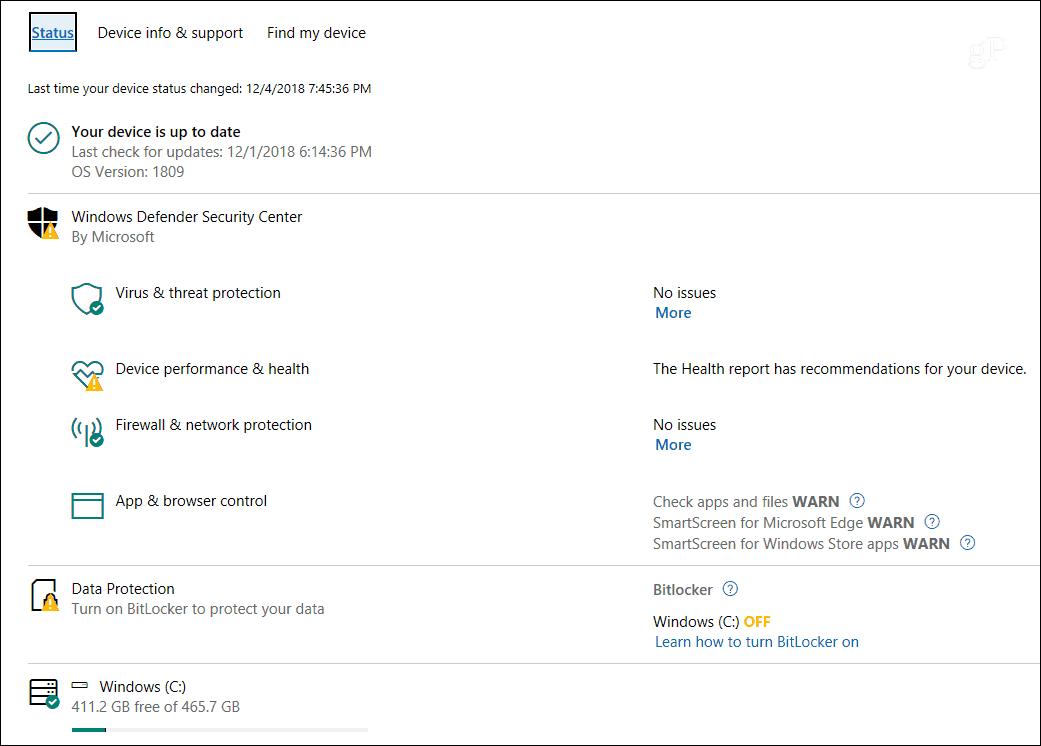 Microsoft Account Device Status