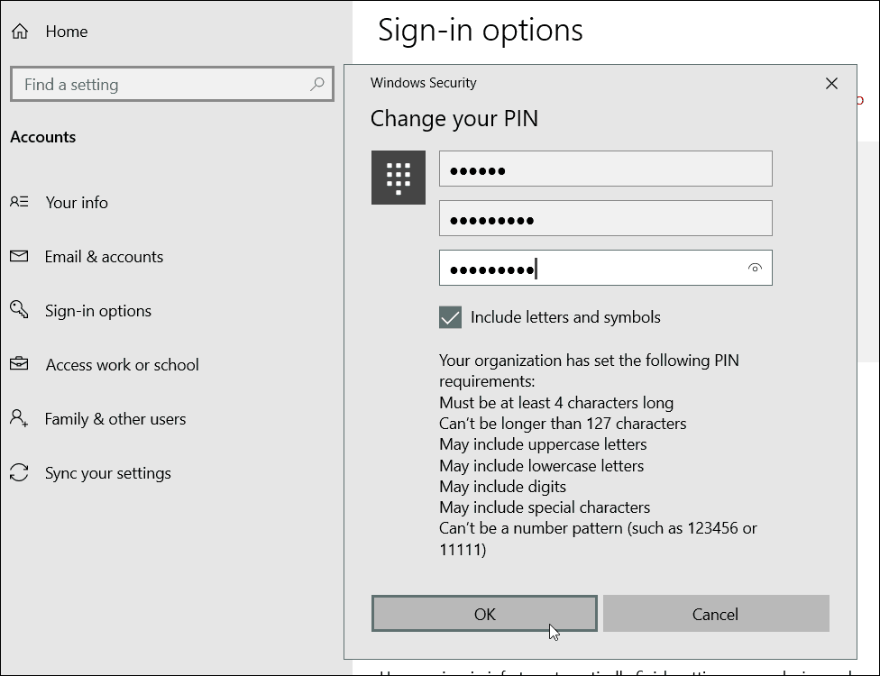 Special Character PIN Requirements Windows 10