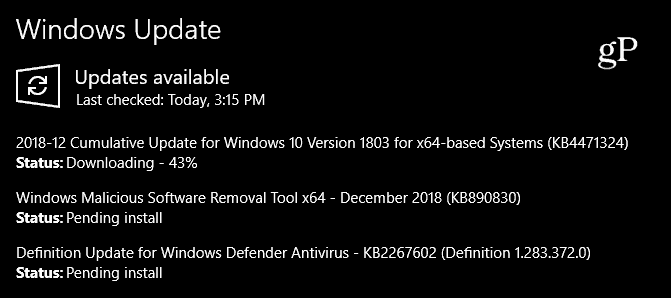windows 10 december 2018